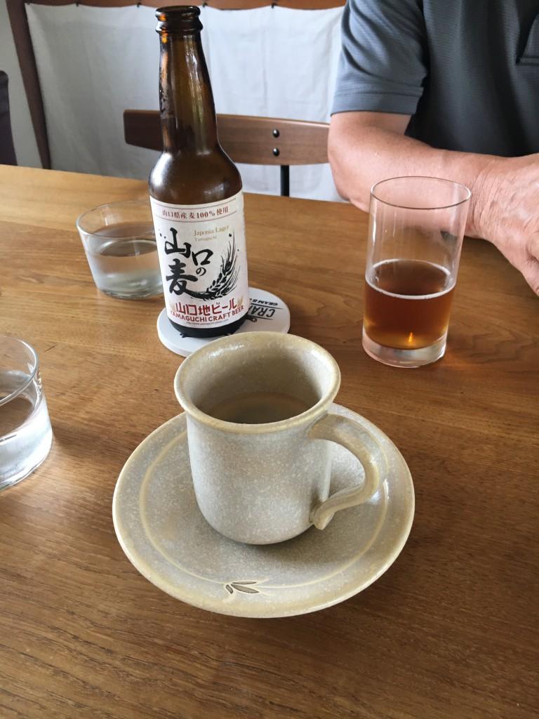 暑かったので、社長はビールを。 山口の地ビールです。